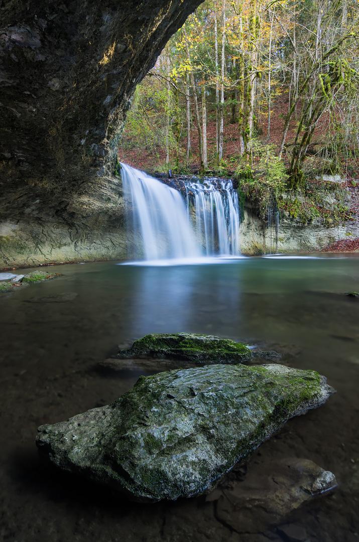 France, Jura (39), cascades du Hérisson, le Gour Bleu.